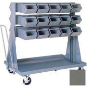 """Stackbin® Mobile Steel Hopper Bin Unit, 51""""W X 32""""D X 50-1/2""""H, 30 Steel Bins, Gray"""