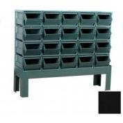 """Stackbin® Steel Hopper Bin Stackrack Unit, 48""""W X 18-3/4""""D X 42""""H, 20 Steel Bins, Black"""