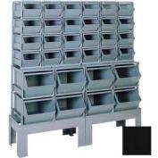 "Stackbin® Steel Hopper Bin Compartment System, 55""W X 17""D X 60-1/2""H, 32 Steel Bins, Black"