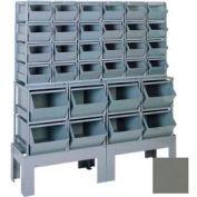 """Stackbin® Steel Hopper Bin Compartment System, 55""""W X 17""""D X 60-1/2""""H, 32 Steel Bins, Gray"""