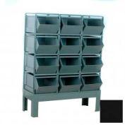 """Stackbin® Steel Hopper Bin Stackrack Unit, 42-1/4""""W X 20-1/2""""D X 52""""H, 12 Steel Bins, Black"""