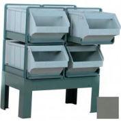 "Stackbin® Pre-Built Roller Bearing Unit, 28-1/2""W X 21""D X 32""H, 4 Plastic Hopper Bins, Gray"