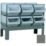 """Stackbin® Plastic Hopper Bin Stackrack Unit, 28-1/2""""W X 21""""D X 32""""H, 6 Plastic Bins, Gray"""