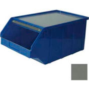 Stackbin® 1-4PB-B-PLHC-TC Plastic Stacking Bin w/Top, Hopper Cover 12-1/2 x 21 x 9-1/2, Gray