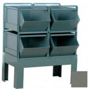 "Stackbin® Steel Hopper Bin Stackrack Unit, 34-1/2""W X 24""D X 37""H, 4 Steel Bins, Gray"