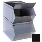 """Stackbin® Hinged Hopper Front Cover For 18""""W x 30""""D x 12""""H Steel Bins, Black"""