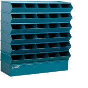"Stackbin® Steel Hopper Stack Bin, 30 Compartment Sectional Unit, 37""W x 13""D x 36""H, Blue"