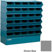 "Stackbin® Steel Hopper Stack Bin, 30 Compartment Sectional Unit, 37""W x 13""D x 36""H, Gray"