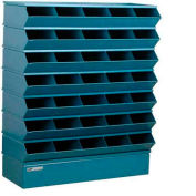 "Stackbin® Steel Hopper Stack Bin, 35 Compartment Sectional Unit, 37""W x 13""D x 42""H, Blue"