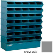 "Stackbin® Steel Hopper Stack Bin, 35 Compartment Sectional Unit, 37""W x 13""D x 42""H, Gray"