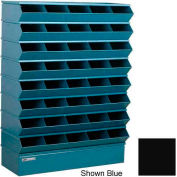 "Stackbin® Steel Hopper Stack Bin, 40 Compartment Sectional Unit, 37""W x 13""D x 48""H, Black"