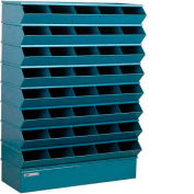 "Stackbin® Steel Hopper Stack Bin, 40 Compartment Sectional Unit, 37""W x 13""D x 48""H, Blue"