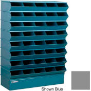 "Stackbin® Steel Hopper Stack Bin, 40 Compartment Sectional Unit, 37""W x 13""D x 48""H, Gray"