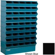 "Stackbin® Steel Hopper Stack Bin, 45 Compartment Sectional Unit, 37""W x 13""D x 54""H, Black"
