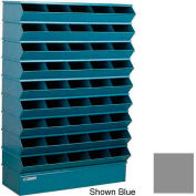 "Stackbin® Steel Hopper Stack Bin, 45 Compartment Sectional Unit, 37""W x 13""D x 54""H, Gray"
