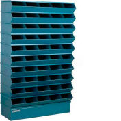 "Stackbin® Steel Hopper Stack Bin, 50 Compartment Sectional Unit, 37""W x 13""D x 60""H, Blue"