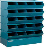 "Stackbin® Steel Hopper Stack Bin, 20 Compartment Sectional Unit, 37""W x 15""D x 43-1/2""H, Blue"