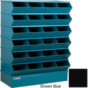 "Stackbin® Steel Hopper Stack Bin, 24 Compartment Sectional Unit, 37""W x 15""D x 51""H, Black"