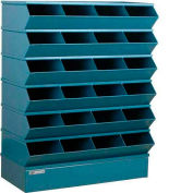 "Stackbin® Steel Hopper Stack Bin, 24 Compartment Sectional Unit, 37""W x 15""D x 51""H, Blue"