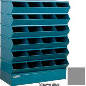 "Stackbin® Steel Hopper Stack Bin, 24 Compartment Sectional Unit, 37""W x 15""D x 51""H, Gray"