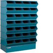 "Stackbin® Steel Hopper Stack Bin, 32 Compartment Sectional Unit, 37""W x 15""D x 58-1/2""H, Blue"