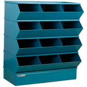 "Stackbin® Steel Hopper Stack Bin, 12 Compartment Sectional Unit, 37""W x 20""D x 44""H, Blue"