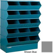"Stackbin® Steel Hopper Stack Bin, 15 Compartment Sectional Unit, 37""W x 20""D x 53-1/2""H, Gray"