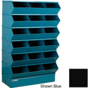 "Stackbin® Steel Hopper Stack Bin, 18 Compartment Sectional Unit, 37""W x 20""D x 63""H, Black"