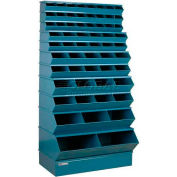 "Stackbin® Steel Stack Bin, 59 Compartment Multi-Size Sectional Unit 37""W x 24""D x 76""H, Blue"