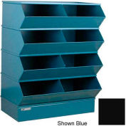 "Stackbin® Steel Hopper Stack Bin, 8 Compartment Steel Sectional Unit, 37""W x 24""D x 44""H, Black"