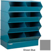 "Stackbin® Steel Hopper Stack Bin, 8 Compartment Steel Sectional Unit, 37""W x 24""D x 44""H, Gray"