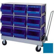 "Stackbin® Mobile Plastic Hopper Bin Unit, 42-1/4""W X 21""D X 44-1/4""H, 9 Plastic Bins, Blue"