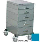 Stackbin® 16 x 24 x 33 Mobile 5 Drawer Cabinet, Steel Top Finish, Blue