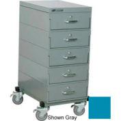 Stackbin® Single Drawer Bank Mobile 5 Drawer Cabinet, Steel Top Finish, Blue
