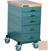 Stackbin Workbench, Mobile Workbench 16 x 24 x 33 Maple Top - Beige
