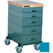 Stackbin® 16 x 24 x 33 Mobile 5 Drawer Cabinet, Maple Top Finish, Blue