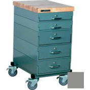 Stackbin® 16 x 24 x 33 Mobile 5 Drawer Cabinet, Maple Top Finish, Gray