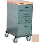 Stackbin Workbench, Mobile Workbench 16 x 24 x 36 Maple Top - Beige