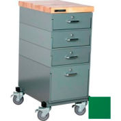 Stackbin Workbench, Mobile Workbench 16 x 24 x 36 Maple Top - Green