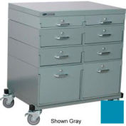Stackbin® Double Drawer Bank Mobile 8 Drawer Cabinet, Steel Top Finish, Blue