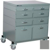 Stackbin® Double Drawer Bank Mobile 8 Drawer Cabinet, Steel Top Finish, Gray