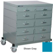 Stackbin® Double Drawer Bank Mobile 10 Drawer Cabinet, Steel Top Finish, Blue