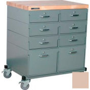 Stackbin® Double Drawer Bank 32 x 24 x 36 Mobile 8 Drawer Cabinet, Maple Top Finish, Beige
