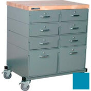 Stackbin® Double Drawer Bank 32 x 24 x 36 Mobile 8 Drawer Cabinet, Maple Top Finish, Blue