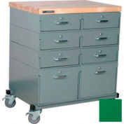 Stackbin Workbench, Mobile Workbench 32 x 24 x 36 Maple Top - Green