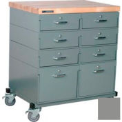 Stackbin® Double Drawer Bank 32 x 24 x 36 Mobile 8 Drawer Cabinet, Maple Top Finish, Gray
