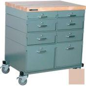 Stackbin Workbench, Mobile Workbench 32 x 24 x 35 Maple Top - Beige
