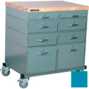 Stackbin® Double Drawer Bank Mobile 8 Drawer Cabinet, Maple Top Finish, Blue