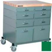 Stackbin Workbench, Mobile Workbench 32 x 24 x 35 Maple Top - Green
