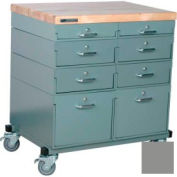 Stackbin® Double Drawer Bank Mobile 8 Drawer Cabinet, Maple Top Finish, Gray